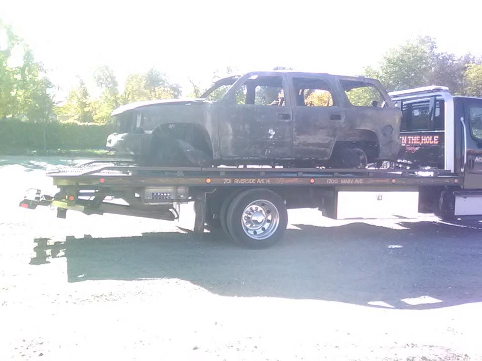 When your fire destroyed car need to be moved, Rocklin Ace Towing has the right equipment for the job.