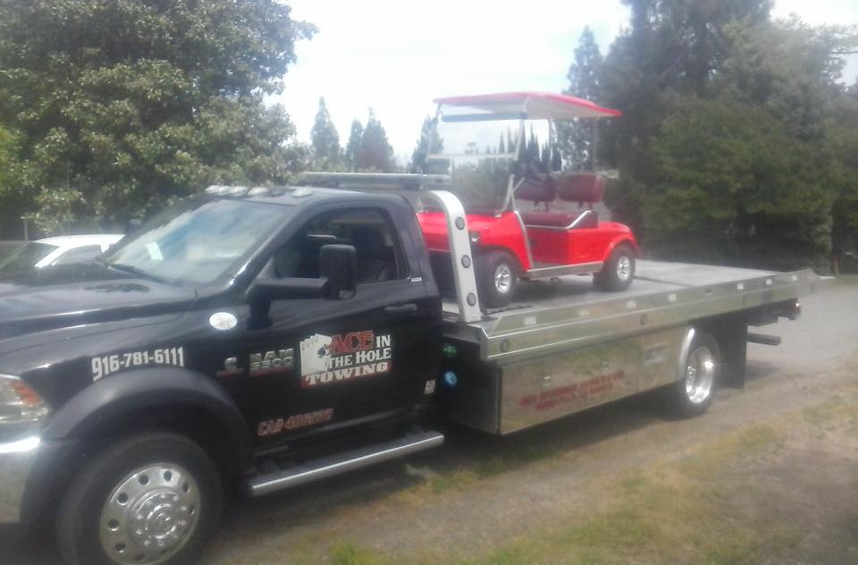 We picked up the golf cart out at Morgan Creek, and delivered it to a new owner. No towing job is too big, or too small for Rocklin Ace Towing.