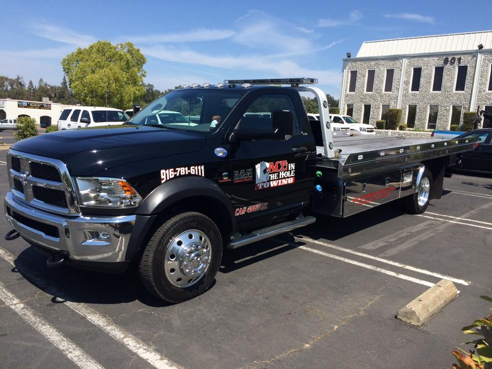 We love taking pictures of our tow trucks. We are so proud to have the best fleet of flatbed tow trucks anywhere, and check out how sweet they look. At Rocklin Ace Towing, we tow our customers with class!