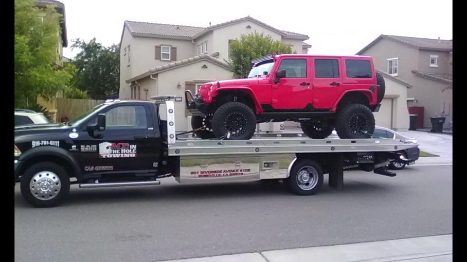 Red Jeeps are sweet looking. Unfortunately, sometimes Red Jeeps break down, and when they do, Rocklin Ace Towing is ready to help. Call us anytime, day or night, and we will get to you with a state of the art tow truck, that can tow your Jeep. Even if you have a Blue Jeep, or a Green Jeep ,or a Black Jeep, Rocklin Ace Towing can take care of your towing needs.
