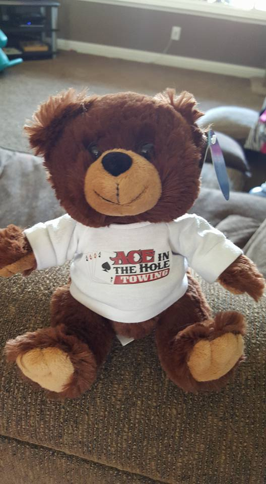 When you are out on the road, and something goes wrong, it helps to have a bear to give you a hug. While our mascot bear can't be out on the road with all our drivers, our the spirit of our Ace Bear rides with all our tow trucks and all our drivers all the time.