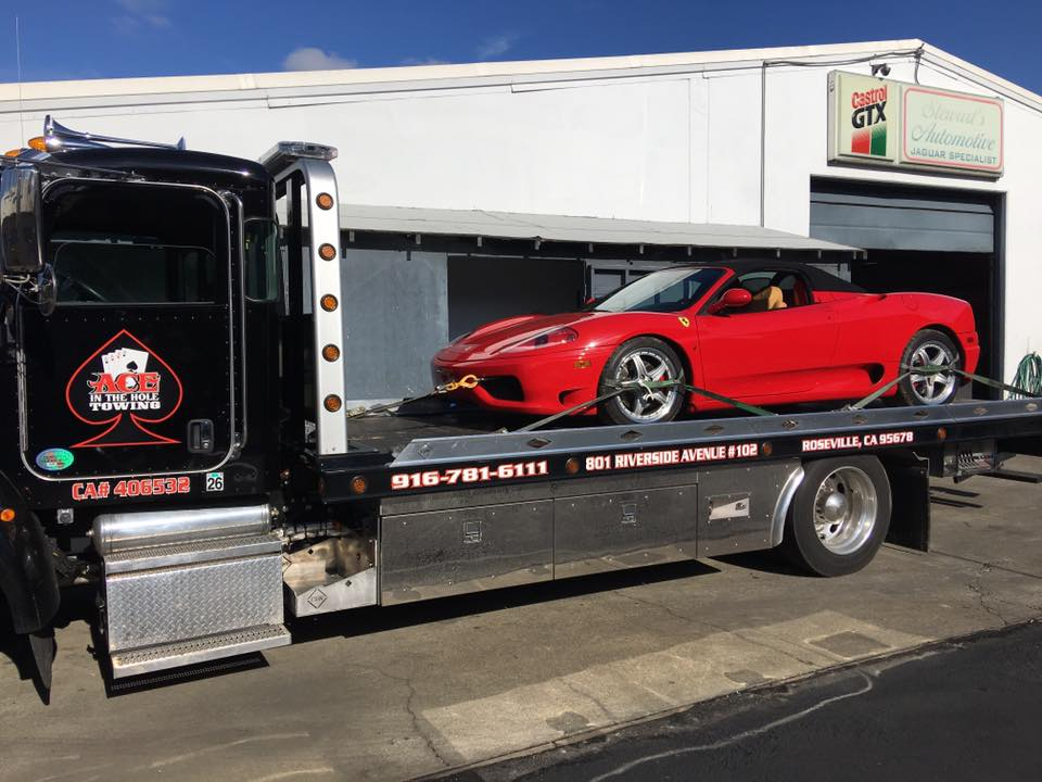 Rocklin Ace Towing gets to tow fast cars sometimes, like this red Ferrari. Whatever you need towed, we have the right equipment to handle it. Our state of the art flatbed tow trucks can handle any vehicle. To get great towing service, call Rocklin Ace Towing.