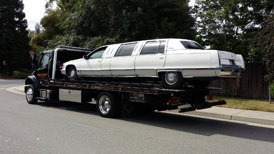 Well, when the limo breaks down, you need to call the best towing company in Rocklin to get the job done. Rocklin Ace Towing made sure this limo got to the shop quickly for repairs, so scheduled limo riders could get to their special dinner party on time later that evening. At Rocklin Ace Towing, we are all about customer service.