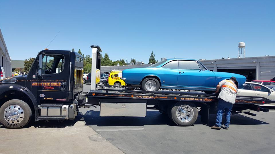 Towing cool, old blue Chevy coupes is a piece of cake for Rocklin Ace Towing. Our drivers have the right tow truck equipment, and the right attitude for the job.