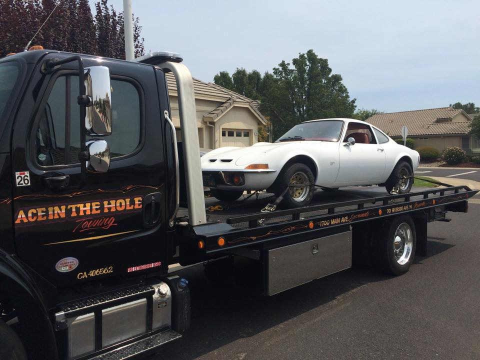 This little white Opal needs a new transmission, and Rocklin Ace Towing is going to deliver it to the transmission shop, so it can be back on the road soon.
