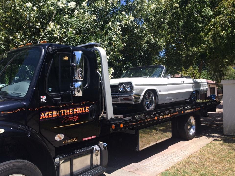 Rocklin Ace Towing has a fleet of tow trucks to handle every towing job. Great customer service in the towing business means being able to meet the needs of the customer, and Rocklin AceTowing has the equipment to handle even the lowest lowered Impala, like this one.
